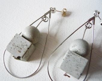 Raw concrete earrings