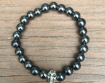 Hematite Beaded Stretch Bracelet with Skull charm