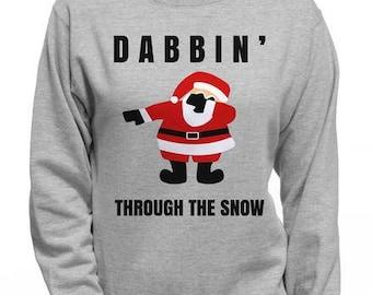 Dabbin' Through the Snow Santa Claus Hoodie | Ugly Christmas Sweater Santa Clause Sweatshirt | Dabbin Christmas Hoodie | Hipster Jolly Santa