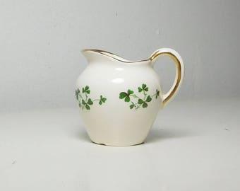 Small Creamer Green Shamrocks Clovers with Gold Trim Carrigaline Pottery Co Ltd Cork Ireland
