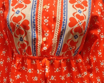 "Vintage ""Deena"" Fashioned in California Fun and Funky Red, White & Blue Maxi Dress."