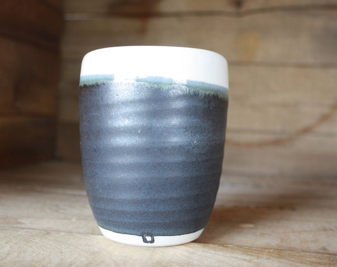 Tumbler - Coffee Mug - Handmade - Black and White - Ceramics & Pottery - KJ Pottery