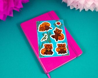 Cute Sticker-Sheet with Red Pandas - Lovely Sticker-Set - Panda Stickers