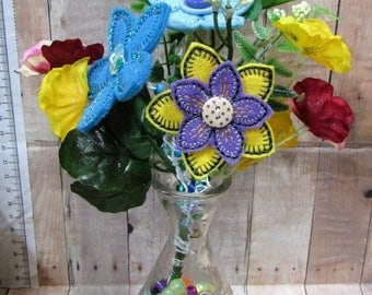 Summer Floral Bouquet, Yellow/Blue Flowers