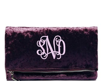Monogrammed Clutch Purse | Envelope Clutch Purse | Bridesmaid Gift | Mother's Day Gift | Velvet Clutch | Personalized Clutch | Crossbody Bag