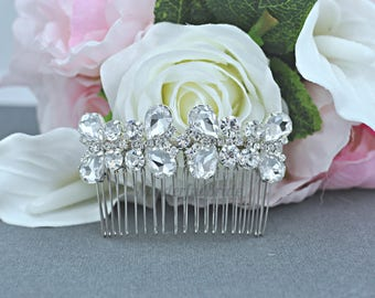 crystal hair comb,Swarovski hair comb,wedding hair comb,bridal hair accessories,wedding hair,Vintage Inspired bridal hair comb,HC052