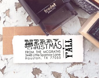Texas Christmas Return Address Stamp, Merry Christmas Ya'll Stamp, Texas Holiday Stamp, Custom Southern Self Inking Rubber Stamp 10160