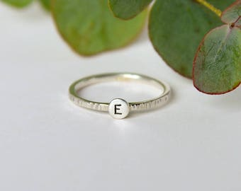 Personalized ring, sterling silver initial ring, silver stackable rings, stacking ring