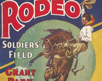 Chicago 1926 Rodeo Cowboy Cowgirl  Rodeo 18x24 Vintage Print