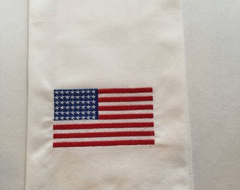 Embroidered American Flag kitchen towel, 100% cotton, dish towel, tea towel, Hostess Gift.  Flag Day, Fourth of July.