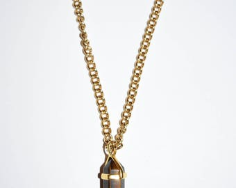 Dark Brown Crystal Gold Plated Necklace, Jewelry, Custom Jewelry, Handmade Necklace, Gold Chain Necklace