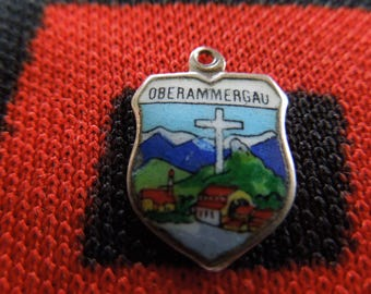 Enamel Silver Oberammergau Charm Passion Play Germany Easter Cross Scenery 800 Silver Charm for Bracelet from Charmhuntress 04962
