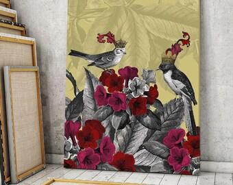 Bird Canvas - Blooming birds Azalea - large wall art canvas painting canvas print bedroom decor bedroom floral wall art bedroom decor ideas