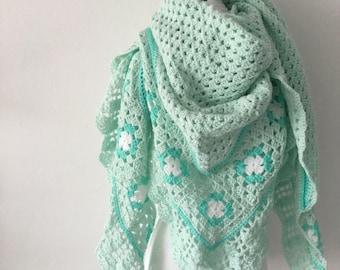 Handmade Crochet shawl mint green
