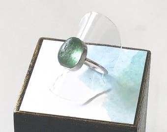 Sea Glass Ring // Aqua Sea Glass Ring //  Sterling Silver Sea Glass Ring // Sea Glass Jewelry