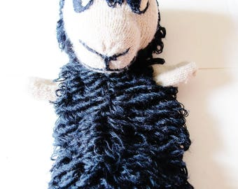 """Hand Made PUPPET, Black Sheep, Knitted, Stitched, Looped, Wool, Viennese Craft, Viennese Artisan, 9 1/2"""", Kaspertheater, 1980s"""