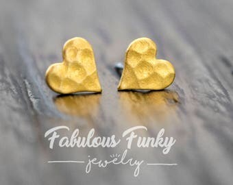 Hammered Heart stud Earrings