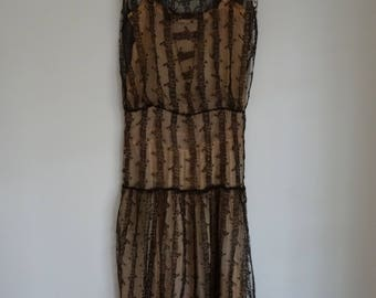 30's Dress Black Lace Gown Elegant Evening Gown Small