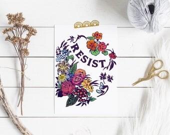 Resist: Feminist Art Print, FREE US SHIPPING, feminist print, gift for her, the resistance