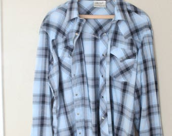 vintage 1970's western cut plaid blue silver pearl snap button up shirt large
