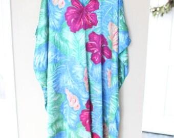 vintage turquoise green leafy purple hawaiian floral shells tunic caftan dress
