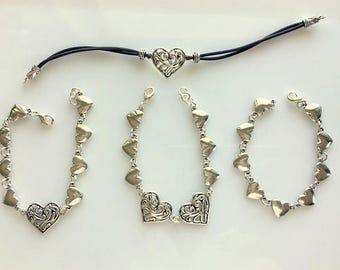 Silver Heart Bracelets - Heart Link Bracelet - Filigree Heart Bracelet - Leather Heart Bracelet - Side by Side Connected Hearts