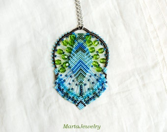 Beadwoven, bohemian necklace, macrame, micro-macrame jewelry,lace, beaded, beadwork, boho, unique, OOAK, blue green sea, summer gift for her