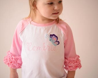 Girls Personalized Shirt – 3/4 raglan Ruffle Sleeve Butterfly Shirt -  6 Months to 12 Years-- Girls monogrammed T Shirt