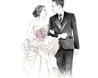 Custom Wedding Portrait Illustration, Custom Portrait, Wedding Illustration, Wedding Portrait, Anniversary Gift, Wedding Gift