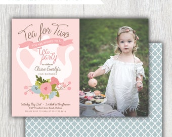 Printable tea party 2nd birthday photo invitation - Tea pot - Floral - Tea for two birthday invitation - Girl birthday party - Customizable
