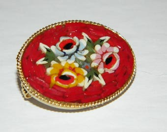 Vintage 1960s Bright Red Oval Micro Mosaic Brooch