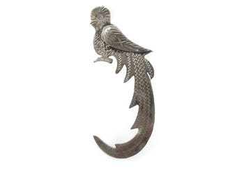 Vintage Sterling Bird Brooch, Etched, Guatemala, Signed, C Clasp