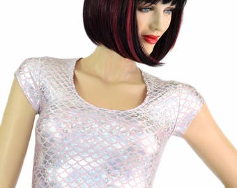 Baby Pink & Silver Mermaid Round Scale Holographic Cap Sleeve Scoop Neck Crop Top Rave Clubwear - 7842