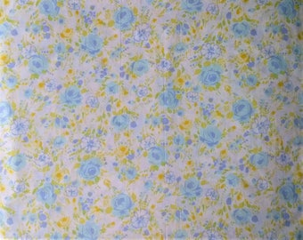 Fashion Manor Percale White & Turquoise Blue Purple Rose Floral Double Full Size Flat Bed Sheet