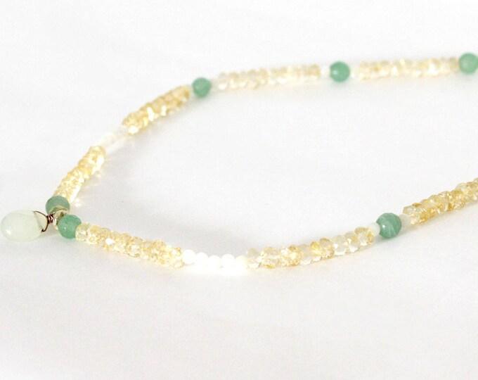 pendant necklace green quartz and citrine beads
