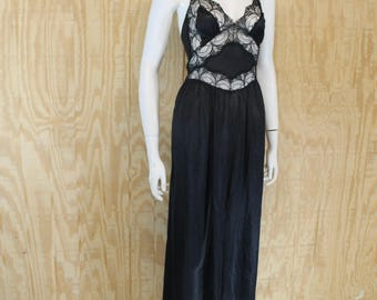 Vintage Lingerie 1970's SEARS Black Lace Insert Plunge Front Slit Nightgown Night Gown Negligee Medium Large M / L