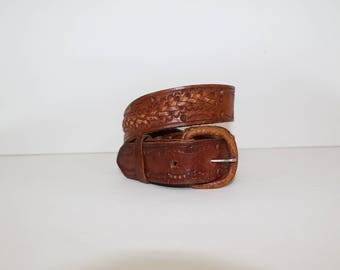 Vintage 1970's Mexico Distressed Brown Leather Tooled Braided Buckle Snap Belt 34