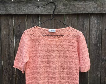 Peach Short Sleeved Heart Knit Sweater