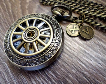 Pocket Watch Personalized Antique Bronze Mechanical with Watch Chain Mens Gift Groomsmen Gift Mens Gift Ships to United States/Canada BRWH