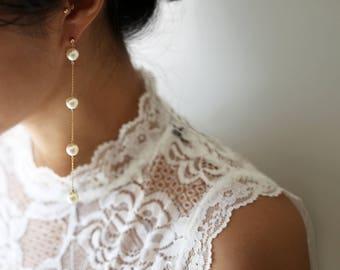Pearl Drop Earring // Pearl Long Dangle Earring // Bridal earrings // Long chain earrings