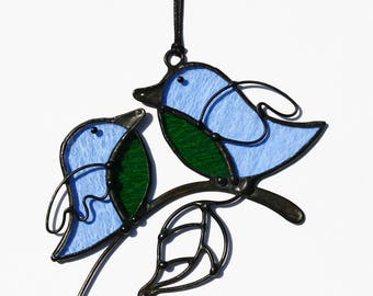 Suncatcher Stained Glass Birds cuople Home decor Gift