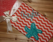 Starfish- Personalized Minky Baby Blanket with Embroidered Starfish-  Coral Chevron and Minky