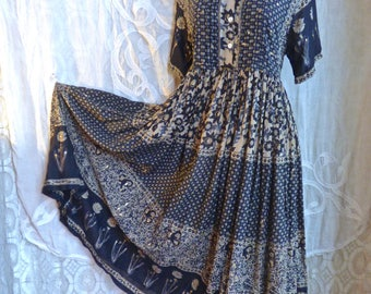 Black and Gold Indian Gauze Cotton Dress