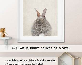 Bunny butt Modern nursery decor, Baby bunny wall art, Rabbit Print, Baby animal art, Gender Neutral woodland Nursery, Animal Print/Canvas/Di
