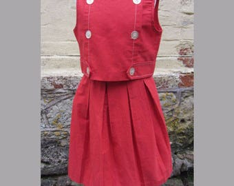 vintage girls 2 piece outfit 50's 60's red pleated skirt festival outfit revival wedding party