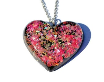 Glitter Heart Pendant Big Statement Necklace Holographic Unique Fun Party Jewelry Valentines Day Necklace
