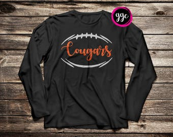 Custom Glitter Football Long Sleeve T-Shirt - Multiple Color Options