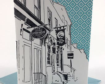 Baltimore Letterpress Card | Thames Street| gray & teal single blank card with envelope