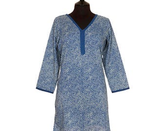 LONG KURTA TOP – All sizes – Style 2 - French Blue Spot design – 100% lightweight cotton