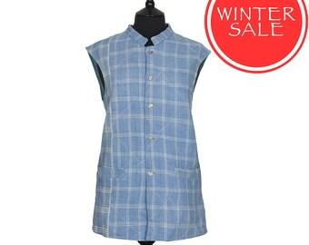 WINTER SALE - KANTHA Waistcoat - Pale blue plaid design. Reverse blue and aquamarine - Large size